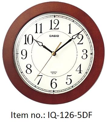 Casio Clocks 啡框圓形掛牆鐘(IQ-126-5DF)
