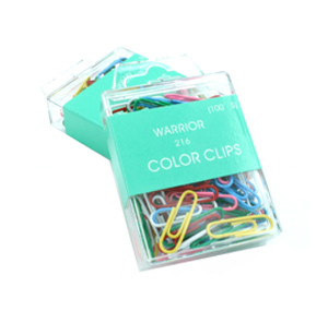 WARRIOR  color paper clip 武士牌彩色包膠圓型萬字夾 (CC216)