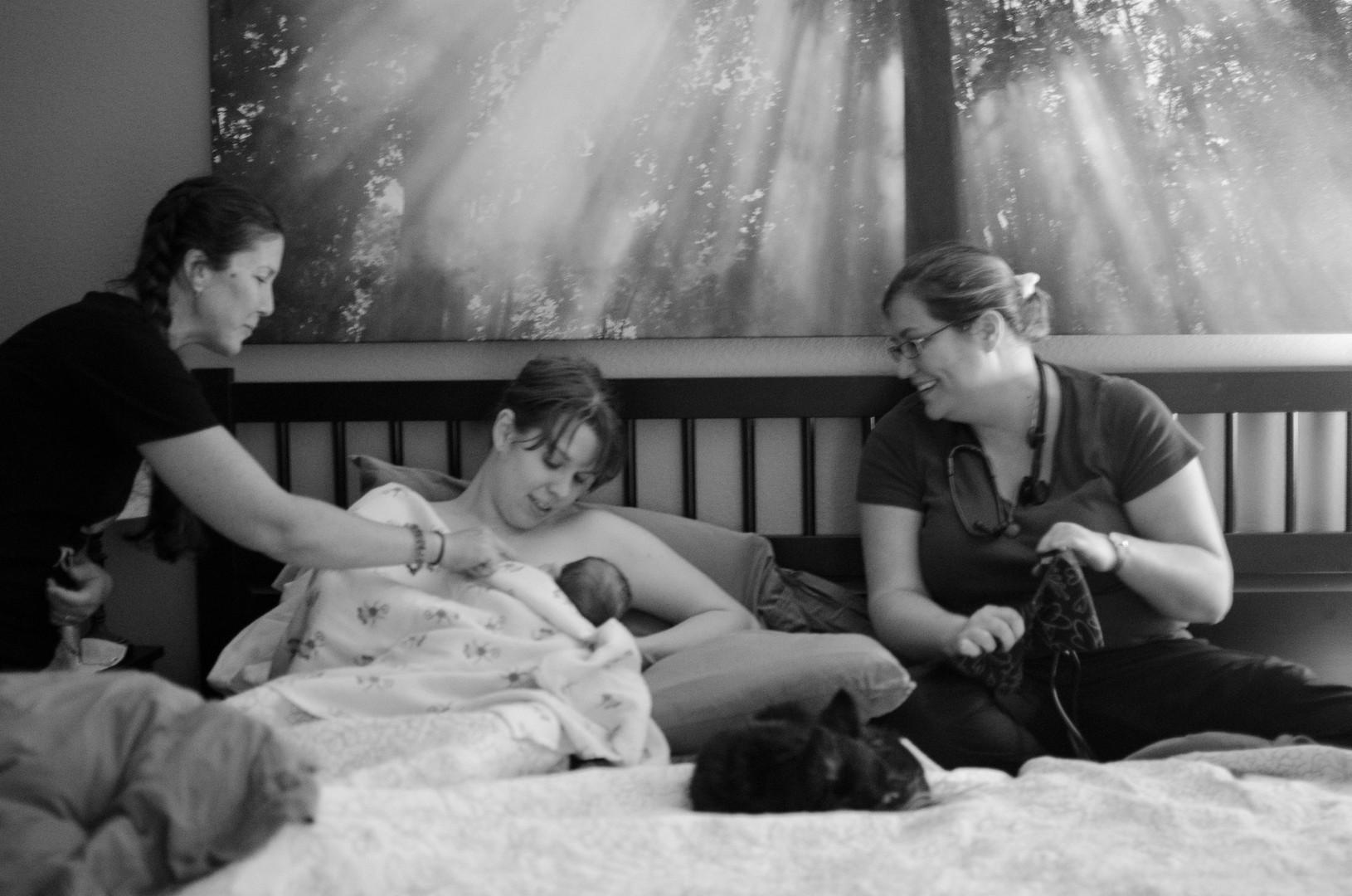 Careful watch over mom and newborn