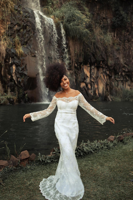 Mariée en robe empire