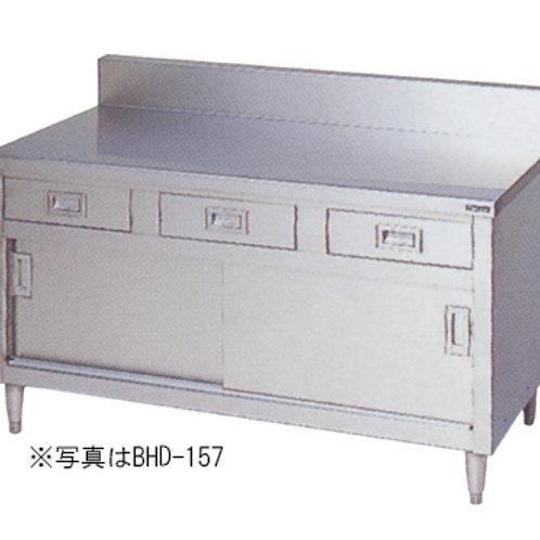 調理台・引出し引戸付・ステンレス戸 BHD-096 バックガード有り 外形寸法:幅900×奥行600×高さ800