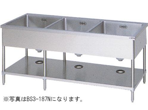 三槽シンク BS3-134N バックガード無し 外形寸法:幅1300×奥行450×高さ800