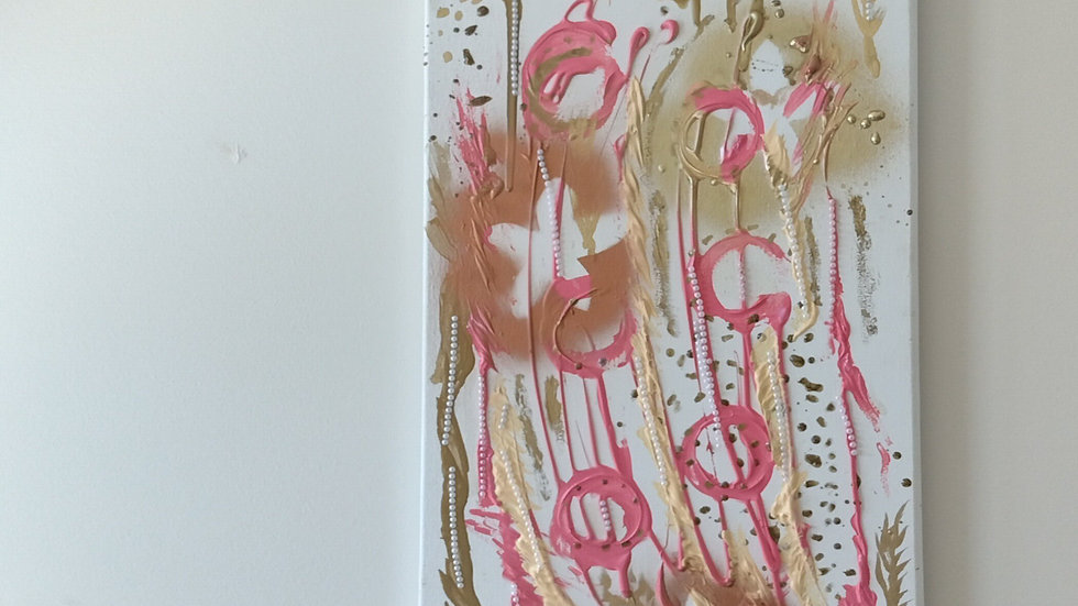 abstract metallic and bronze floral pearl embellished painting