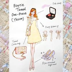 Bowtie tweed one-piece