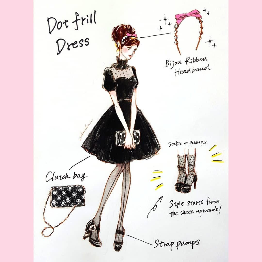 Dot frill dress
