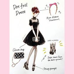 Dot frill dress