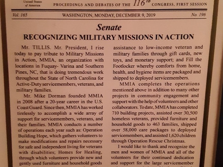 United States Senate Recognizes Military Missions In Action