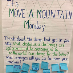 Helping kids identify their mountains, and finding strategies to move them is an important lesson in perseverance. This morning message was the first step in a bigger lesson, which included the picture book, Manji Moves a Mountain by Nancy Churnin. This lesson will be in the toolbox section soon!