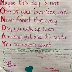 Getting kids excited for the new week is my goal with this morning message! Reflecting on how they will make the day count gets them focused and keeps them mindful as they go through their day.