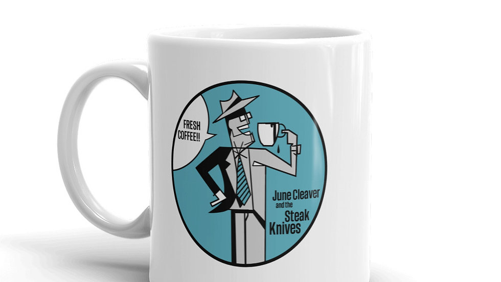 JCSK Blue Fresh Coffee White Glossy Mug