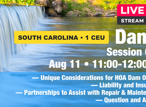 August 11: Dams • Session One • 1 CEU