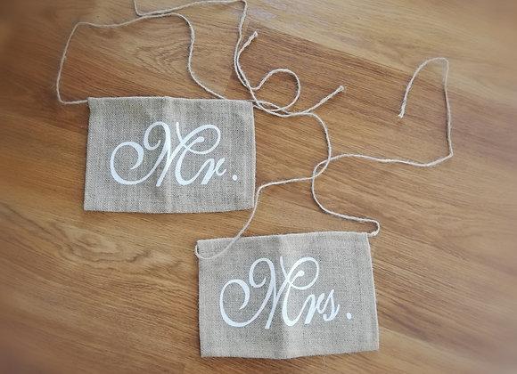 Označení na židle Mrs & Mr