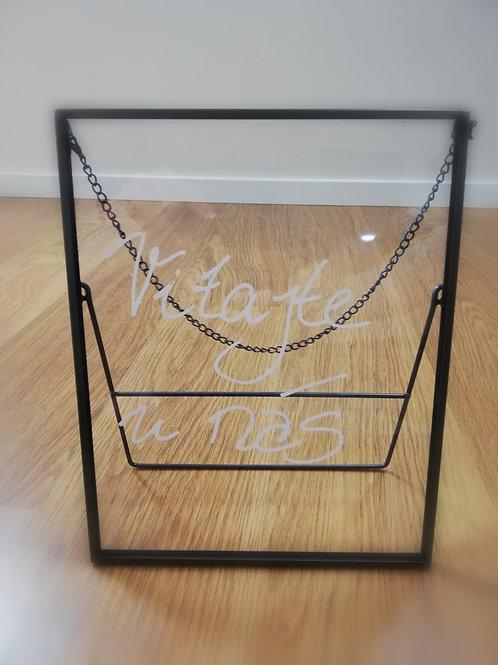 Černá tabulka/rám sklo