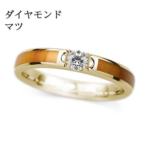 K18YG【誕生木】結婚指輪 -ダイヤ入り-