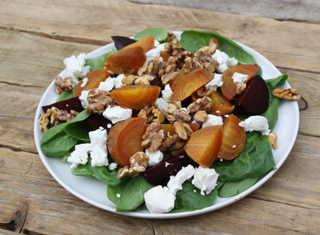 Golden Beetroot, Fresh Goat's Cheese, Baby Spinach and Toasted Walnut Salad