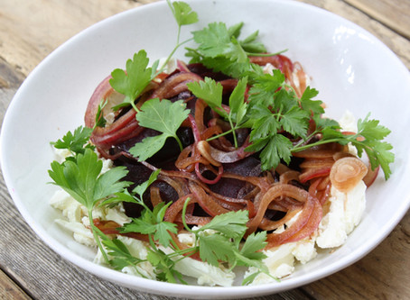Labneh with Roast Beetroot and Pickled Red Onions