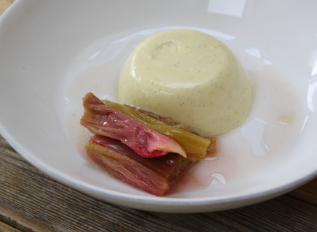Panna Cotta with Grappa & Roast Rhubarb