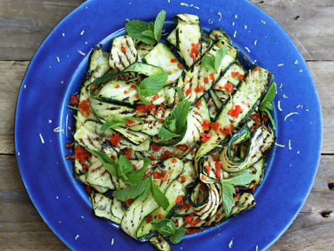 Grilled Courgette Salad with Chilli, Min