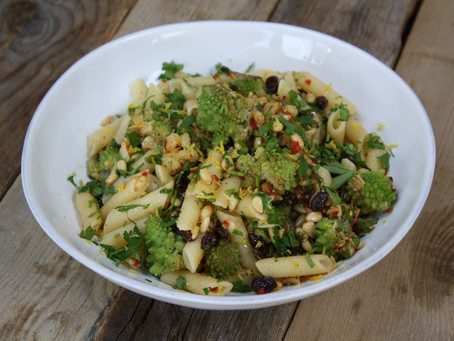 Sicilian Pasta with Sautéed Romanesco, Chilli, Pine nuts, Currants, Parsley and Lemon