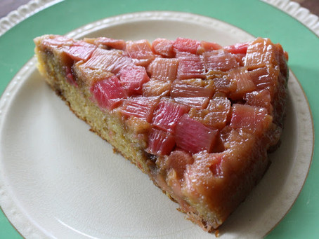 Rhubarb, Almond & Vanilla Upside Down Cake