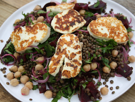 Beetroot, Lentil, Halloumi and Parsley Salad
