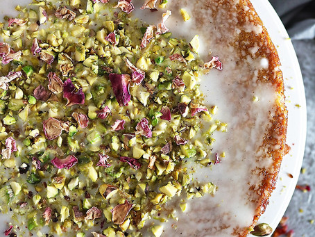 Rosewater Frosted Pistachio and Orange Cake