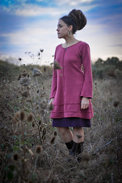 The Lexis Dress - Long Sleeve Organic cotton and Terry Dress
