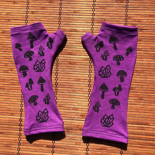 Mushroom print fingerless gloves/ Arm warmers Organic cotton and hemp