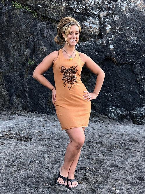 The Feather Mandala Dress- Organic Cotton and Hemp Racer back dressMade to order