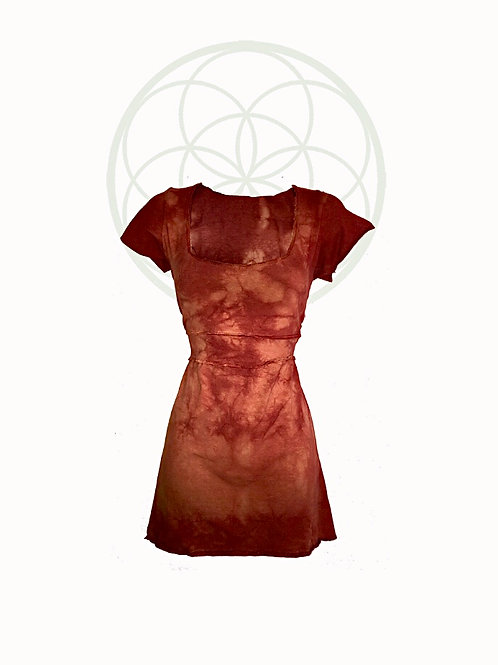 One of a kind short sleeve mini Dress - organic cotton and hemp Size Medium