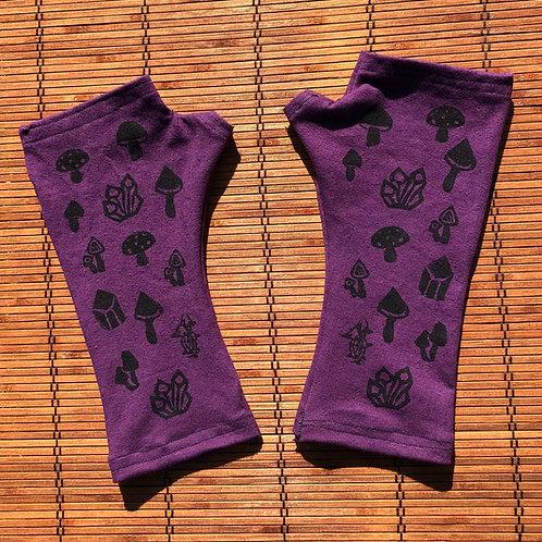 Mushroom print fingerless gloves/ Arm warmers Size Large Organic cotton and hemp