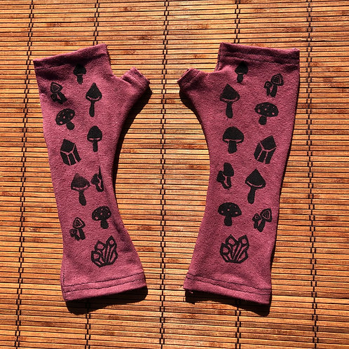 Mushroom print fingerless gloves/ Arm warmers Organic cotton and hemp