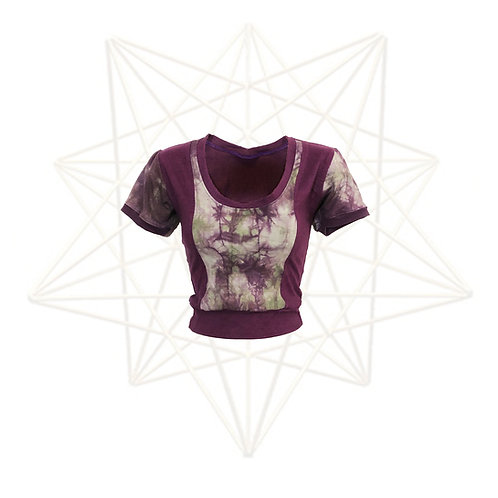 One of a kind short sleeve crop top - Handmade and Dyed