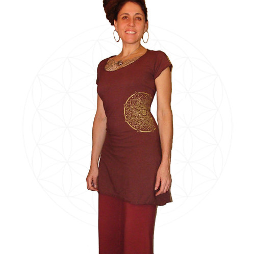 The Aadya short sleeve tunic dress with mandala print
