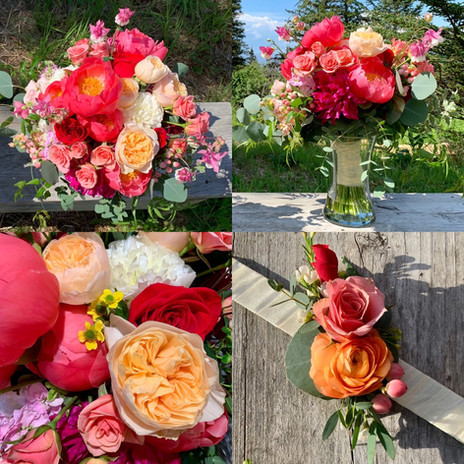 Coral, Dark Pink and Peach