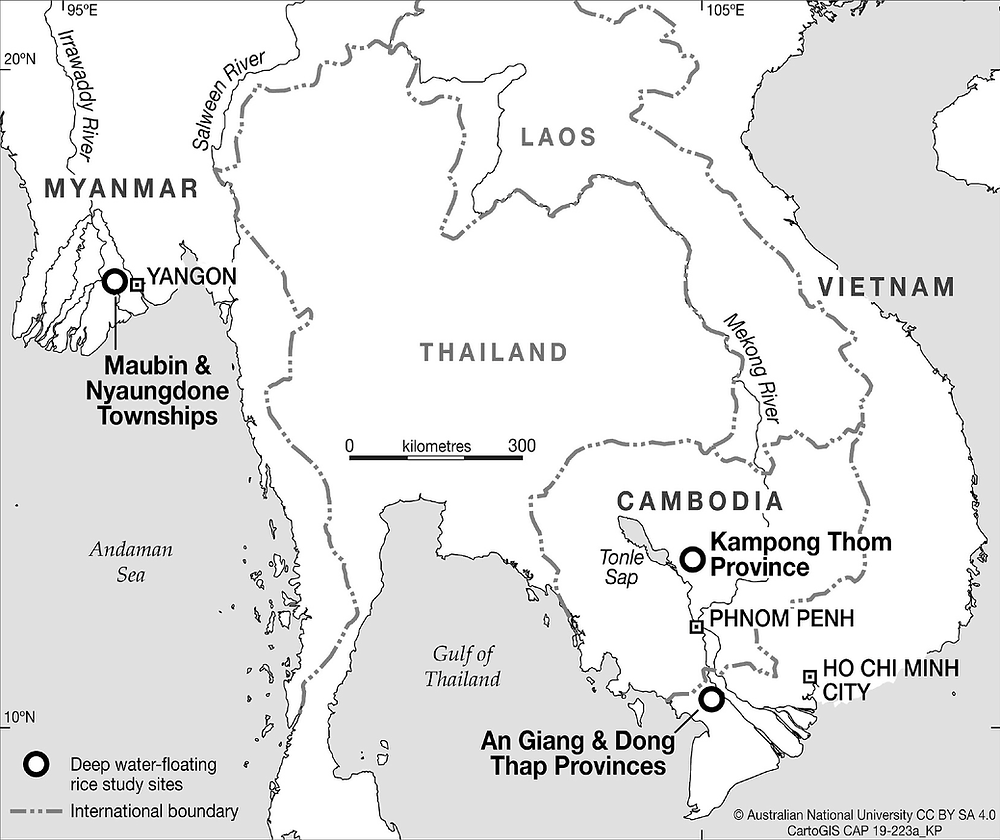 Map of Lower Mekong and Myanmar Region study sites.