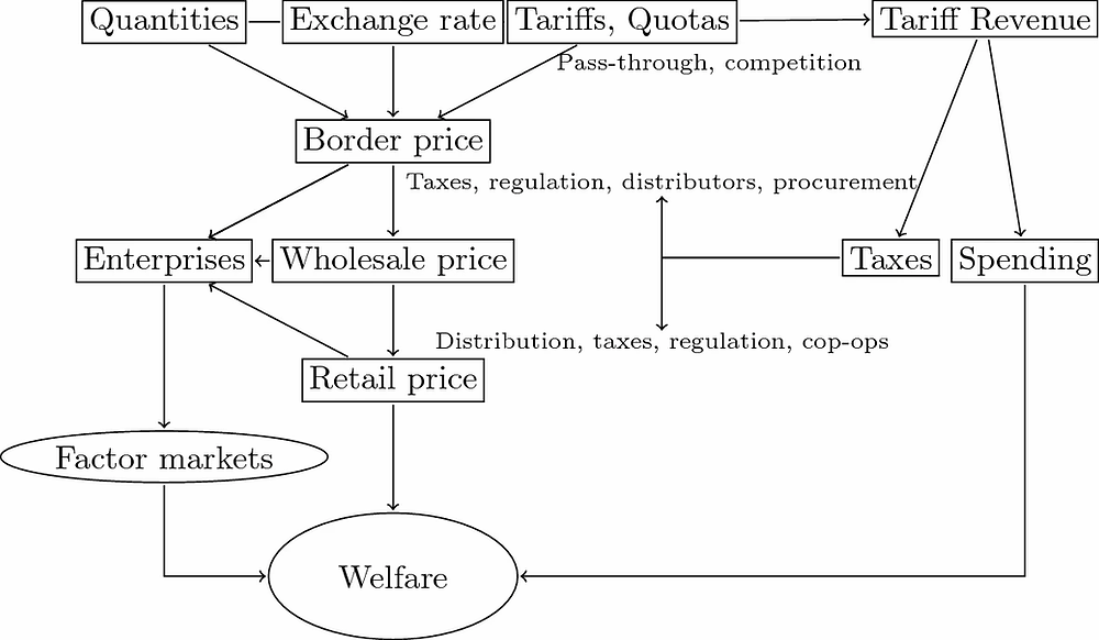 Winters' framework for the effect of trade liberalization on household welfare
