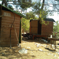 Outdoor showers and compost toilets