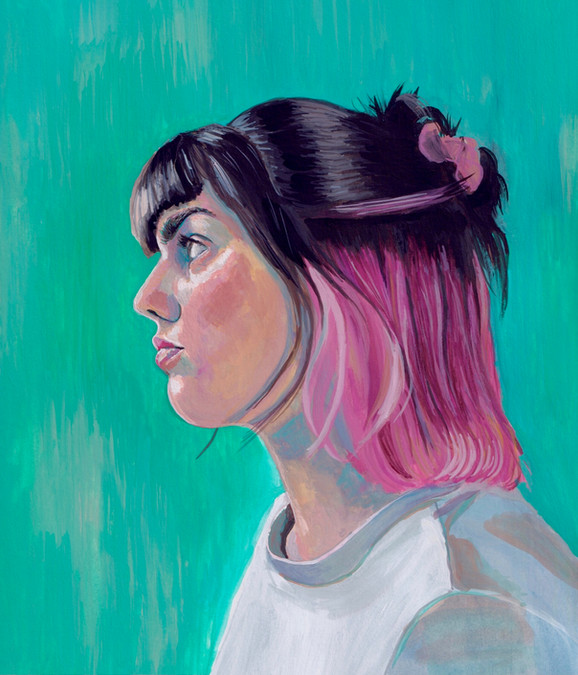 autoportrait aux cheveux roses, 2021