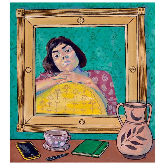 autoportrait fauteuil jaune chambre 60.j