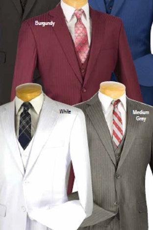V2TT-8 shadow (tone) stripe 3 piece wool feel 2 button suit side vent
