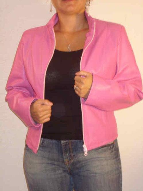 Italian Nappa Lambskin Leather Jacket pink