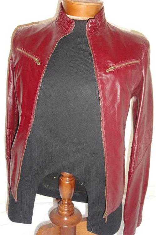 Italian Nappa Lambskin Leather Jacket Wine