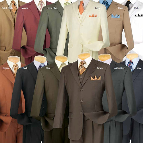 3TR-3 3 piece 3 button wool feel solid