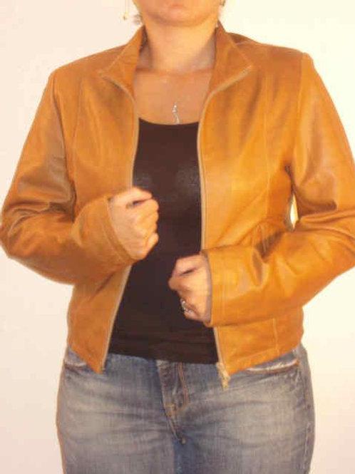 Italian Nappa Lambskin Leather Jacket Caramella