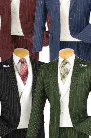 V2RS-6 3 piece gangster pinstripe with white fancy vest