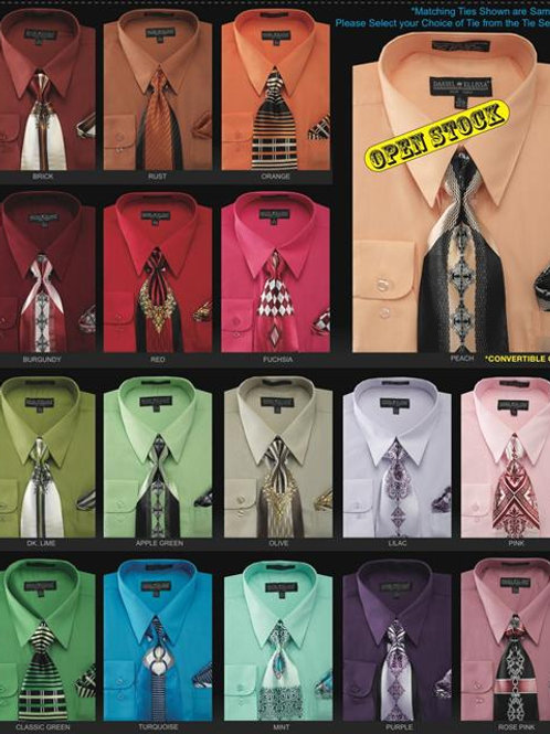 basic mens dresss shirt and matching tie set