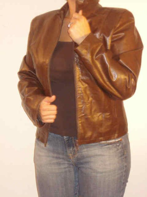 Italian Nappa Lambskin Leather Jacket Moca