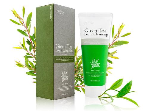 3W CLINIC Пенка для умывания ЗЕЛЕНЫЙ ЧАЙ  Green Tea Foam Cleansing