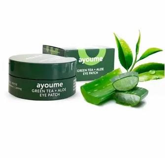 Ayoume Green Tea + Aloe Патчи для век с экстрактом зелёного чая и алое